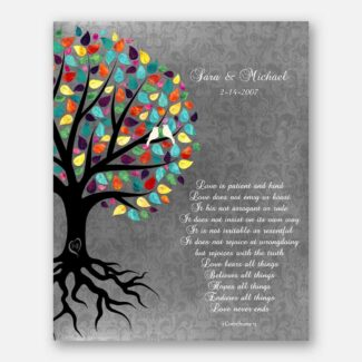 A Perfect Anniversary Gift, A Completely Handmade Personalized Gift For Your Soulmate, A Rooted Family Multicolor Tree Two Love Birds, 1060