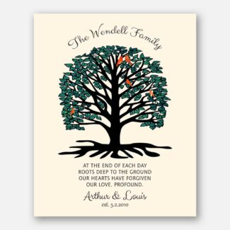 Best Personalized Anniversary Gift, A Handcrafted Gift With A Rooted Tree Showing Family Growing Strong, Gift With A Heartfelt Message,1064
