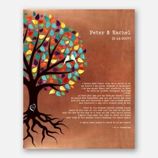 Best Personalized Anniversary Gift, Beautiful Handcrafted Gift Comes With Multicolor Tree With Growing Roots & A Heart With Initials, 1066