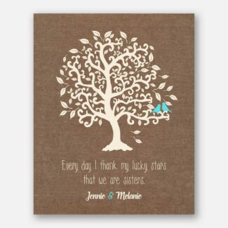 Personalized Sister Gift, Handmade Image Of Tree & 2 Birds With Message, Best Handcrafted Gift For A Sister Or Thank You Gift, 1073
