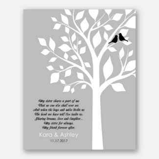 Personalized Gift for Sister, White Tree & 2 Birds Symbolizing Sisters, Best Handcrafted Gift for Your Sister, Cherish For Lifetime, 1075