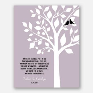 Personalized Gift For Sister, Gift For Sister On Special Occasion, A Tree With 2 Birds Symbolizing The Sisters And Their Love Forever, 1076