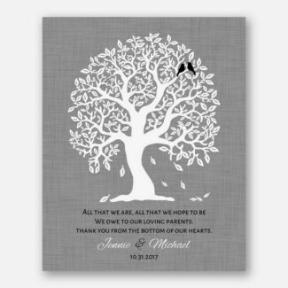 Thank You Gift For Parents, Handcrafted Gift For Parents, Personalized Gift Representing A Family Tree With 2 Birds Symbolizing Kids, 1085
