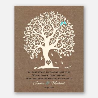 Handcrafted Thank You Gift For Parents, Personalized Gift Representing A Family Tree With 2 Birds Symbolizing The Family Together, 1086
