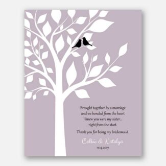 Personalized Bridesmaid Gift, Thank You Gift, Wedding Day Gift, Personalized Gift For Sister In Law With A Sweet Poem Saying Thanks, 1089