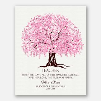 Best Teachers Gift, Personalized Gift For Teacher, A Handcrafted Gift For Your Teacher With Cherry Blossom Tree With A Warm Message, 1096