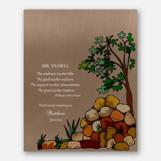Personalized Teacher Gift, Mentor Gift, Tree, Stones, Thank You Gift From Student, Leader Gift, Boss Gift, William Arthur Ward Quote, 1823