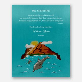 Gift For Leader, Gift For Mentor, Personalized Gift For Boss, Thank You Gift For Teacher, Mountain, Sea, Dolphins, Aristotle Quote, 1828