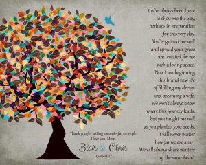Mother Poetry Wedding Day Tree Gift From Daughter – Personalized for Blair