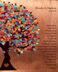 Seven Year Anniversary Love Is Patient Corinthians Colorful Spring Tree Faux Copper Gift – Personalized For Brandon