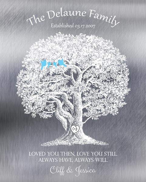 Wedding Vows Keepsake Poem Ten Year Anniversary Large Oak Tree Gift – Personalized For Cliff