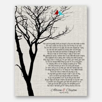 Mother of Bride Parents Black Bare Tree on Faux Texture Cream Background With Love Birds Father of Bride #CWA-1012