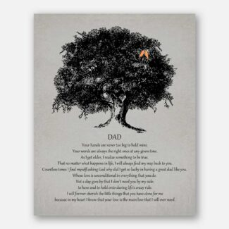 Dad Father of Bride Parents Black Oak Tree on Gray Your Hands Are Never Too Big To Hold Mine #CWA-1013