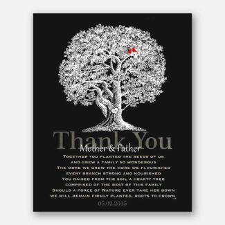 Mom and Dad Parents Family Tree Anniversary Poem For Wedding Anniversary Gift Oak Tree Carved Initials on Black Background #CWA-1213