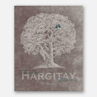 10th Anniversary Family Tree Oak Tree Carved Initials Teal Lovebirds on Beige Background #CWA-1214