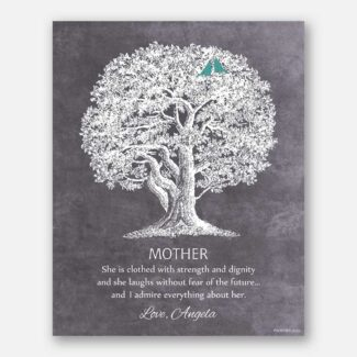 Mother Oak Tree She Is Clothed With Strength And Dignity Proverb 31:25 Thank You Gift For Mom on Eggplant Background #CWA-1221