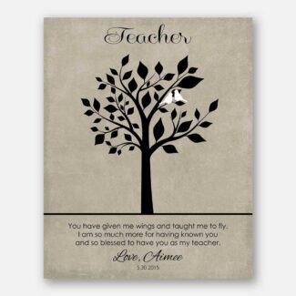 Teacher Appreciation End of School Year You Have Given Me Wings Taught Me To Fly Gift From Student on Faux Texture Beige Background #CWA-1249