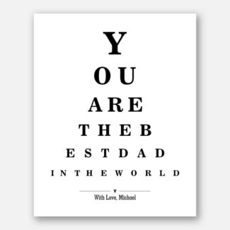 Dads Birthday Fathers Day Best Dad In The World Word Design Eye Chart on White Background #CWA-1270