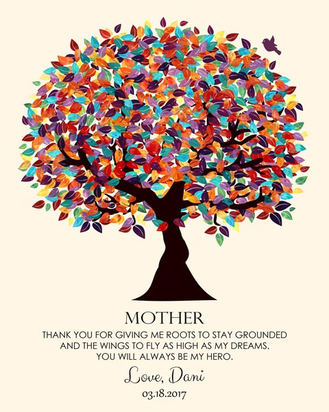 Mother's Day Birthday Wings To Fly Colorful Fruit Wedding Tree Thank You Gift – Personalized For Danielle