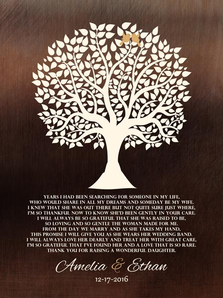 Mother of Bride Gift Faux Dark Bronze Tree of Life – Personalized for Don and Melinda