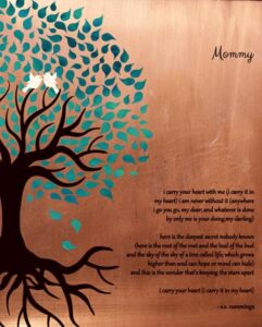 Engagement Keepsake For Mom Faux Copper Turquoise Family Tree Roots Gift – Personalized for Gretchen
