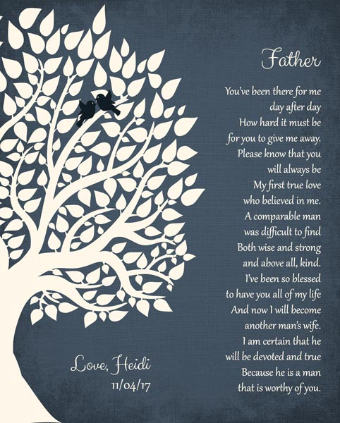 Father From Daughter Thank You From Bride To Parents Family Wedding Poem Tree Gift – Personalized For Heidi