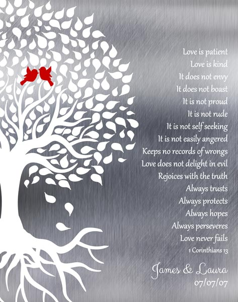 Tin Ten 10 Year Anniversary Wedding Tree Roots Love Birds Love Is Patient Gift Personalized For James