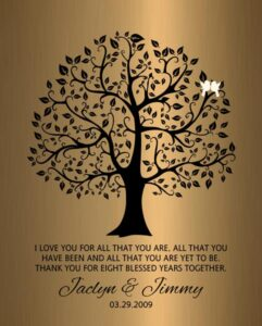 8 Years Married Eighth Year Anniversary Wedding Tree Faux Bronze Onyx Gift – Personalized For James