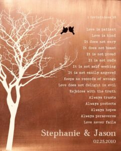 7 Year Anniversary Bare Tree Love Birds Faux Copper Corinthians Love Is Patient Psalm Keepsake Gift – Personalized For Jason