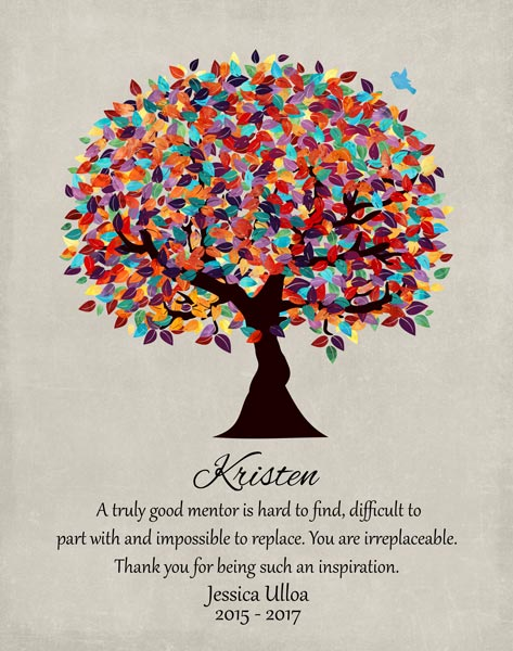 Friend Mentor Teacher Multi Colorful Tree We Will Miss You Gift – Personalized For Jessica