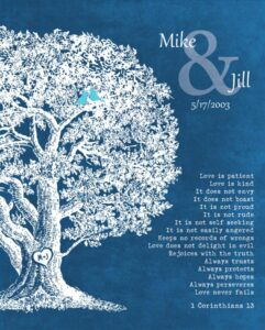 Anniversary Family Tree Plaque 1 Corinthians 13 Love Is Patient – Personalized for Jill
