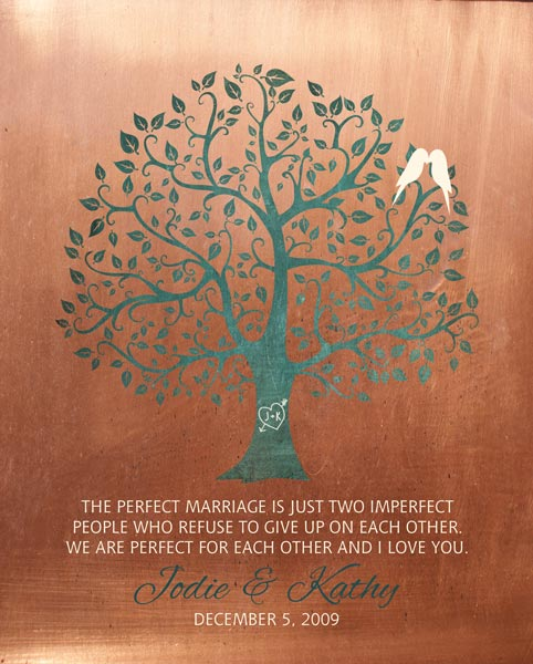 Gift for Wife 7 Year Anniversary Faux Copper Wedding Tree Art Print Perfect Marriage – Personalized for Jodie