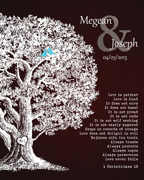 Anniversary Plaque Family Tree 1 Corinthians 13 Carved Initials Love Is Patient Gift – Personalized For Joseph
