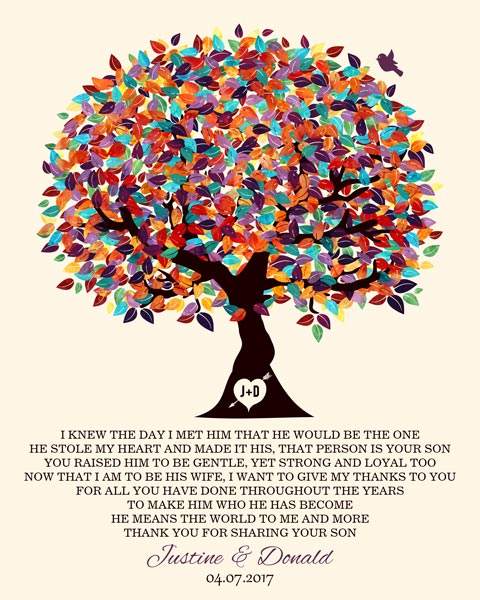 Groom's Parents From Bride Oak Fruit Tree Wedding Poem Gift – Personalized For Justine