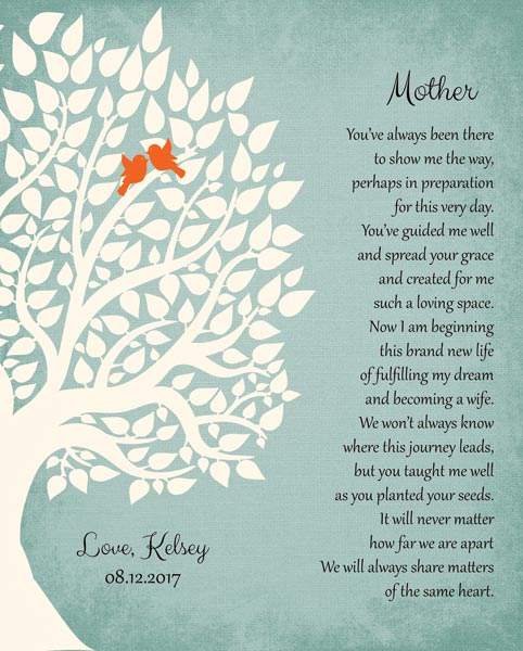 Thank You Gift Mother From Daughter From Bride To Parents Wedding Poem Tree Gift – Personalized For Kelsey
