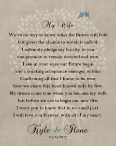 Husband To Bride Wedding Day Pledge Love Family Tree Poem Gift – Personalized For Kyle