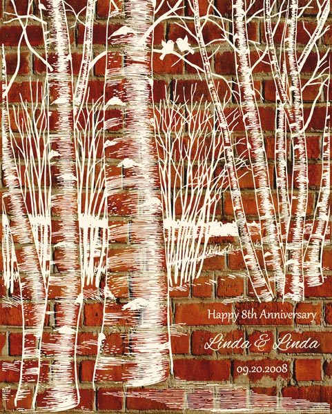 Eight Year Anniversary Clay Pottery Traditional Birch Tree Forest – Personalized For Linda