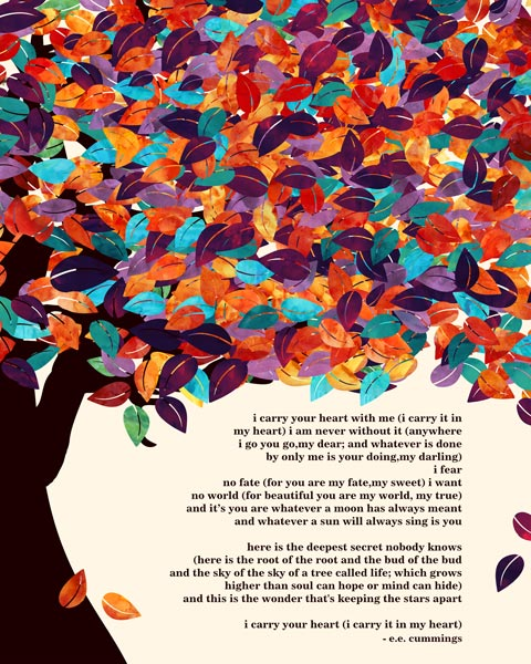 E.E. Cummings Poem Spring Wedding Tree Poetry Gift For Couple – Personalized For Colleen