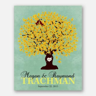 Custom Family Tree Surname Carved Initials Personalized Gift For 1st Anniversary Paper 2nd 7th 10th Anniversary Cotton Wedding Poem#LT-1107