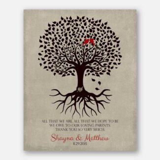 Thank You Gift For Parents Personalized Family Tree Roots All That We Are Loving Parents Mother of Groom or Bride Family #LT-1110