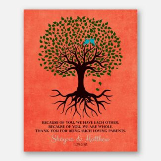 Thank You Gift For Parents Personalized Family Tree Roots Because Of You We Have Each Other Mother of Groom Bride Family #LT-1111