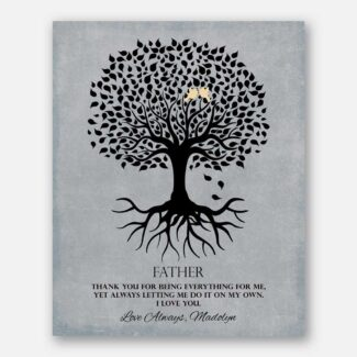 Gift For Father Family Tree Roots Thank You For Being Everything Personalized Gift For Father's Day #LT-1113
