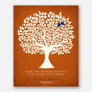 Personalized Thank You Gift For Mother of Groom Man of My Dreams Parents of Groom Gift Family Wedding Poem Tree Gift For Mom and Dad #LT-1114