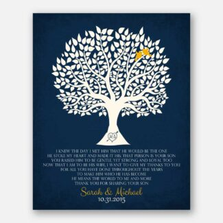 Personalized Thank You Gift For Mother of Groom I Knew The Day I Met Him Parents of Groom Gift Family Wedding Poem Tree #LT-1115