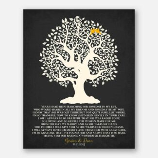 Personalized Thank You Gift For Parents Mother of Bride Years I Had Been Searching Family Wedding Poem Tree Gift For Mom and Dad #LT-1125