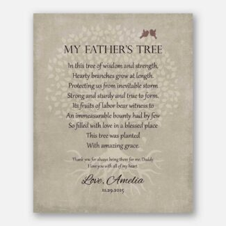 Pesonalized Gift For Dad on Father's Day or Birthday Family Tree of Life Poem My Father's Tree Gift For Mom and Dad #LT-1141