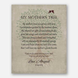 Pesonalized Gift For Mom on Mother's Day or Birthday Family Tree of Life Poem My Mother's Tree Gift For Mom and Dad #LT-1142