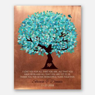 Faux Copper 7th Wedding Anniversary I Love You For All That You Are Personalized Gift For Husband Wife Couple Colorful Fruit Tree #LT-1179