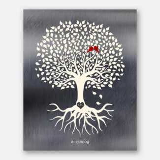 Family Tree With Roots Minimalist Design on Tin Background Heart Initials in Tree 10 year Anniversary #1210