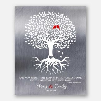 10th Anniversary Gift Minimalist Family Tree of Life With Roots Corinthians 13:13 And Now These Three Remain Faith Hope Love #1216
